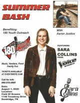 Sara Collins from The Voice and Aaron Justice to perform at Field Of Dreams In Dandridge, August 1, 2020