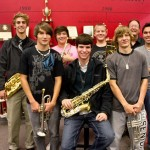 Photo & Article by Robin Archer, Jefferson County Post Staff Writer / L-R first row, Justin Edens, Kyle Vassau, Anthany Beck. Second row, Seth Lovell, Tyler McCarter, Joe Gorrell, Band Director Mr. Pat Mason and Cody Grooms
