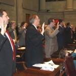 Representatives Farmer Roach Faison taking oath of office