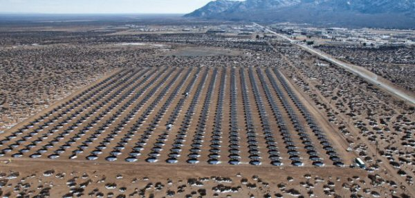 An aerial view of the solar array, the U.S. Army's largest solar photovoltaic system, located at White Sands Missile Range, N.M. (Photo by Jose Salazar, ATEC)