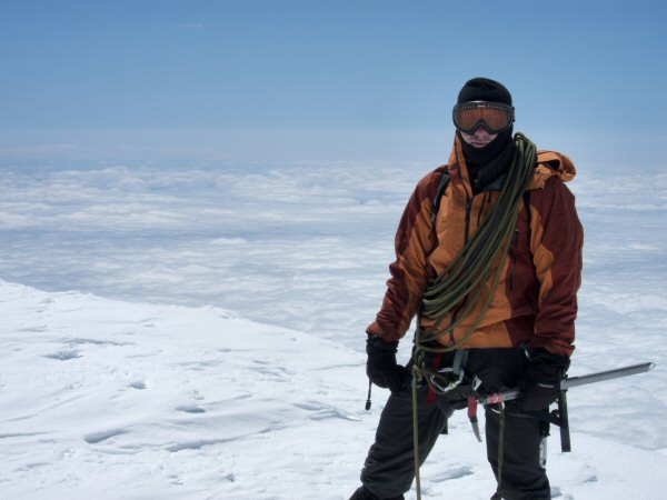 Air Force Capt. Colin Merrin, a member of the U.S. Air Force Seven Summits Challenge team, stands at the summit of Mount Rainier in the state of Washington. He plans to reach the summit of Mount Everest in May 2013. Courtesy photo