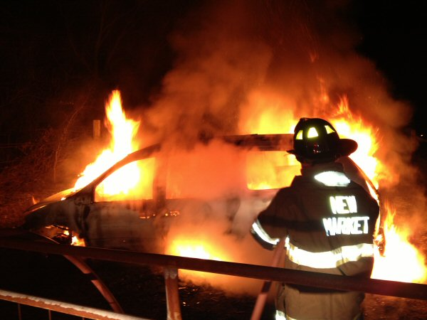 New Market Volunteer Fire Department on Vehicle Fire Call Wednesday Night - Photo courtesy of Captain Sammy Solomon