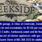 Creekside Duane Sloan Rental 06032013