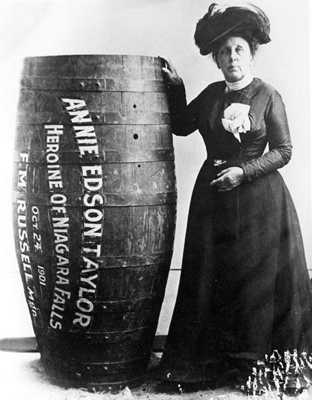 Annie Taylor the first person to go over Niagara falls in a barrel