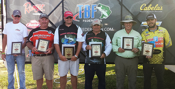 Top 6 TBA Anglers from Left to Right, Walter ogle, Chad Waddell, Larry Reid, Benny Kizer, Eddie Mullins, and Adam Jones - Staff Photo by K. Pless