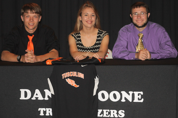 L/R - Jacob Cutshall, Sierra Hanson, Caleb CutshallPhoto Submitted by Dom Donnelly, Tusculum Assistant Athletic Director for Media Relations