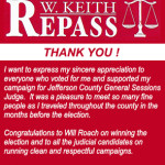 Keith Repass Thank You Ad