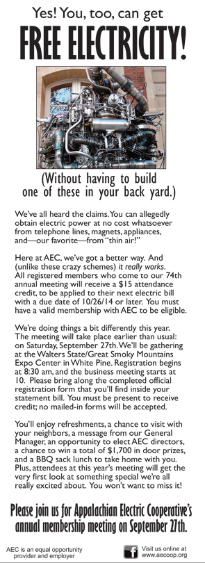 Appalachian Electric Free Electricity Ad 09012014