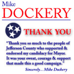 Mike Dockery Mayor Election Thank You08182014