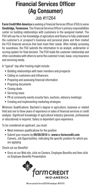 Farm Credit Financial Services Officer Ad 09152014