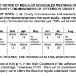 PUBLIC NOTICE OF REGULAR SCHEDULED MEETINGS OF THE