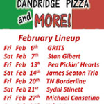 Dandridge Pizza and More Music Lineup Feb 2015
