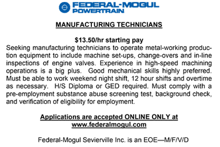 Federal-Mogul Sevierville Inc Ad 01152016