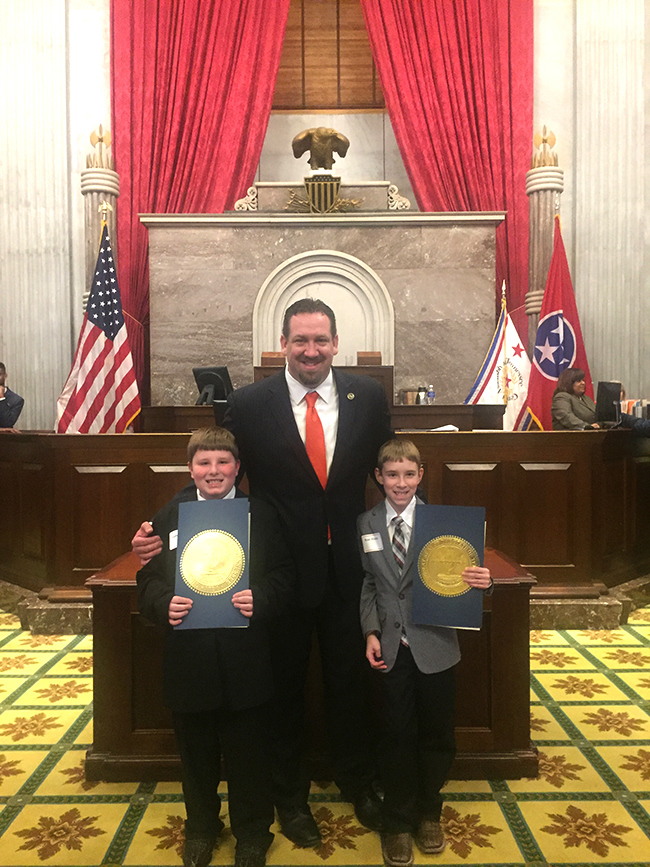 Representative Jeremy Faison, District 11, Colby and Ryan Frazier