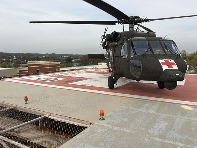 A Tennessee Army National Guard HH-60 Blackhawk sets down at Ft. Sander's Regional Hospital after rescuing a patient from a remote area of the Great Smoky Mountains National Park.  (Photo by National Park Ranger William Jaynes)