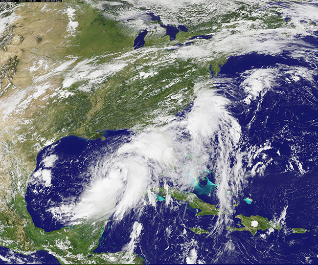 This visible image of Tropical Storm Hermine was captured by NOAA's GOES-East satellite on Aug. 31 at 3:30 p.m. EDT (1930 UTC).Credits: NASA/NOAA GOES Project