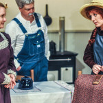 Matthew and Marilla welcome Anne to Green GablesMindy Williams as Marilla, Mark McConkey as Matthew, MacKenzie Price Myers as Anne.  Photo by Loveday Images