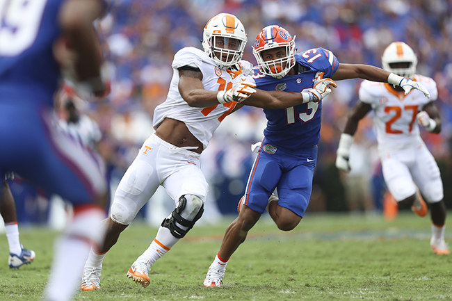 GAINESVILLE, FL - SEPTEMBER 16, 2017 - Linebacker Quart�e Sapp #14 of the Tennessee Volunteers during the game between the Florida Gators and the Tennessee Volunteers at Ben Hill Griffin Stadium in Gainesville, FL. Photo By Kyle Zedaker/Tennessee Athletics