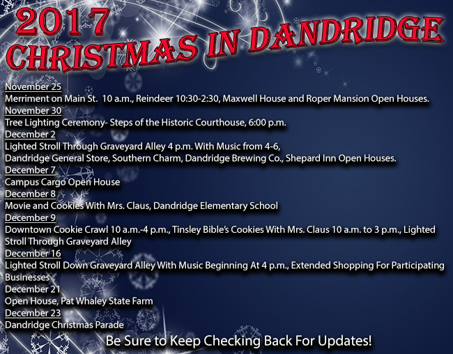 Chrismas in Dandridge 2017 Calendar of Events 11242017 650