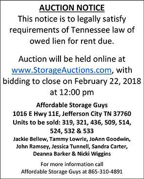 Affordable Storage Guys Auction Notice 02122018
