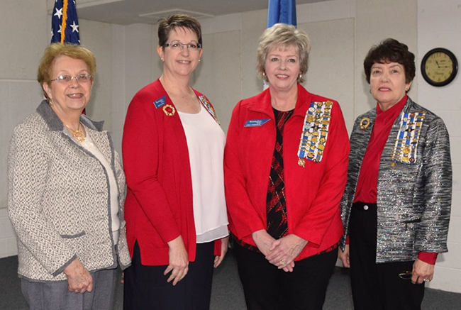Ruth Davis, Regent of the Spencer Clack Chapter; Mary Cay Khiel, Regent of the Martha Dandridge Washington Chapter; Emily Robinson, TSDAR Second Vice Regent; and Barbara Baker, Regent of the Samuel Doak Chapter, celebrate the Second Anniversary of the Martha Dandridge Washington Chapter NSDAR at a luncheon on February 10.