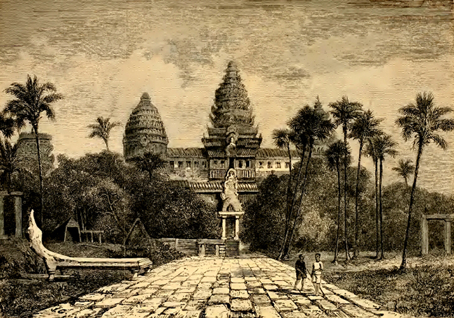 Facade of Angkor Wat, a drawing by Henri Mouhotcirca 1860