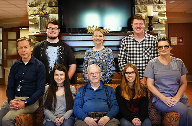 Back Row: Student Jacob Hensley, Service Learning Instructor Mrs. O'Connor, Student Caleb BallingerFront Row: Administrator Mr. Roger Mynatt, Student Feeding Assistant Morgan Rainwater, Elder Joe Worley, Student Juli Mynatt, Activity Coordinator Penny SheltonNot pictured: Students Ethan Oakes,  Hayley Morgan, Carlie Williams, Ashlyn Keller