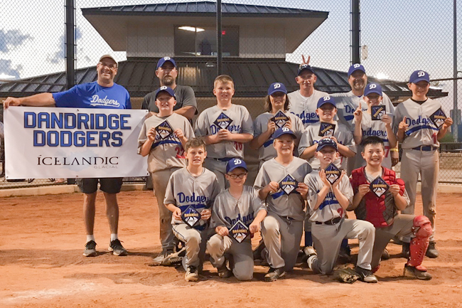 Dandridge Dodgers Left to Right Bottom, Josh Holland, Mason Satterfield, Carson Hopson, Cole woolard, Lucas Havley Left to Right Second Row, Cole Osborne, Grant Arnold, Dylan Edmonds, Parker Batts, Micah Hurdle, Jacob Shrader Back Row, Left to Right, Sponsor GRITS Mark Havely, Coach Mark Woolard, Head Coach Danny Osborne, Coach Danny Shrader Not Pictured, Tanner McMahan