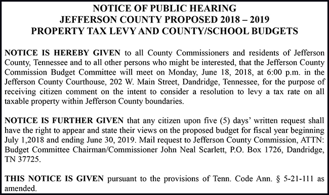 Jefferson County Tennessee NOTICE OF PUBLIC HEARING 2018-2019