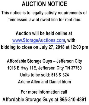 Affordable Storage Guys July 27 Auction