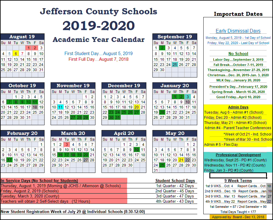 2019 2020 Jefferson County Schools Calendar – Includes Full Week