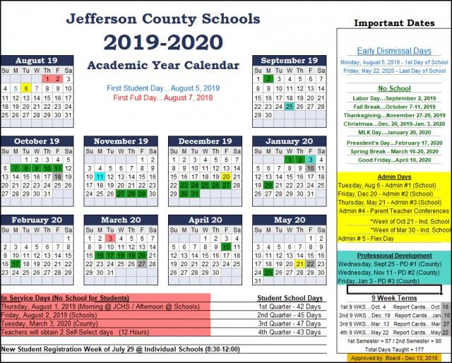 Jefferson County Schools Calendar 2019 Jefferson County Schools Calendar 2019 2020 c | The Jefferson